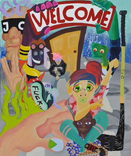 WELCOME, 2019, Acryl auf Leinwand, 200x 150 cm