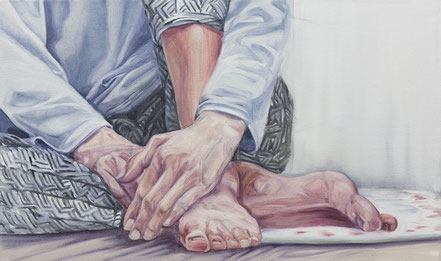 two hands and two feet, Öl auf Leinwand, 30x50cm