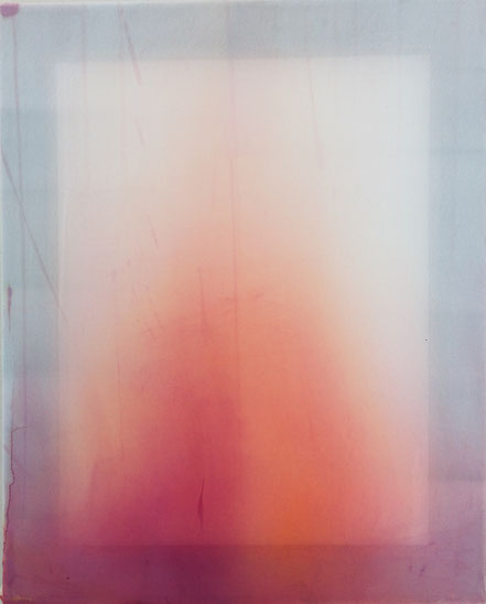 o.T., 2019, Tusche, Synthetikfaser, Acryl, Holzrahmen, 50 x 40 cm