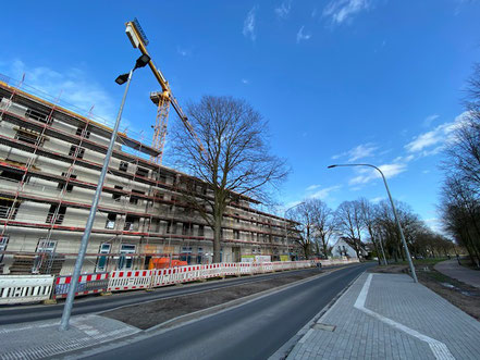 Kran auf der Baustelle Gartenstadt Werdersee (Foto 02/2020)