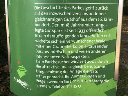 Schild im Eingangsbereich des Wolfkuhlenparks in Bremen-Kattenturm