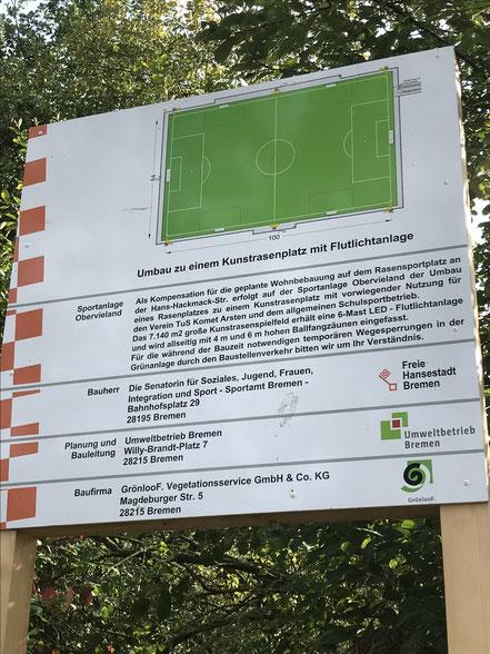 Bauschild der Sportanlage Obervieland