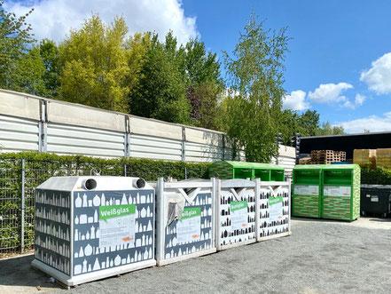 Auf dem Recyclinghof Obervieland in Bremen-Habenhausen können und Glas und Alttextilien entsorgt werden (Foto: 05-2020, Jens Schmidt)