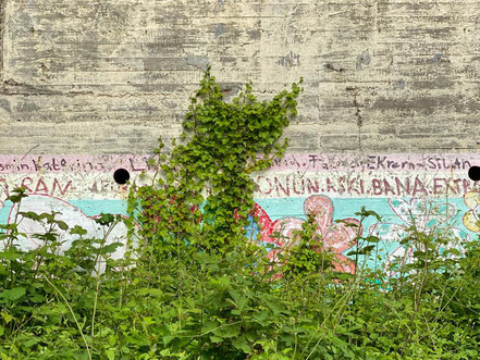 """Verblichene Farben, abgeblätterte Stellen: Das Kunstwerk """"Blütenteppich"""" hat im Laufe der Jahre gelitten (Foto: 05-2020, Jens Schmidt)"""