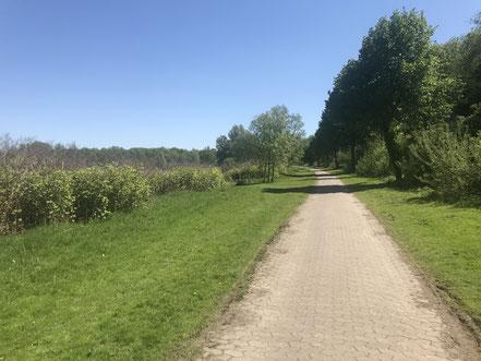 Gepflasterter Weg parallel zum Autobahnzubringer Arsten