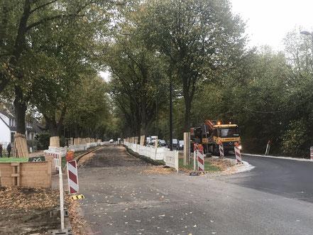 Der Straßenverkehr wird über den ehemaligen Fußweg auf der gegenüberliegenden Straßenseite der Gartenstadt Werdersee geleitet (Foto: 10-2018, Jens Schmidt)