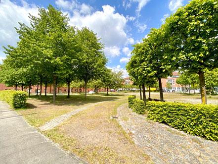 Der Cato-Bontjes-van-Beek-Platz in Bremen-Kattenturm ist offen angelegt, seine Wege kreuzen das Areal (Foto: 05-2020, Jens Schmidt)