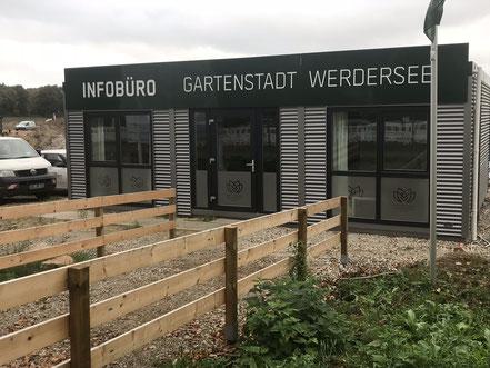 Das neue Infobüro Gartenstadt Werdersee an der Habenhauser Landstraße (Foto: 10-2018, Jens Schmidt)