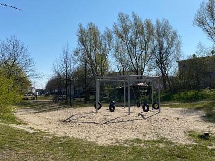 """Große Spielflächen für Kinder: Spielplatz """"Arsterix"""", Carl-Katz-Straße 2, Bremen Arsten (Obervieland) (Foto: 04-2020, Jens Schmidt)"""