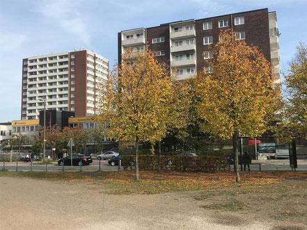 Herbstatmosphäre in Kattenturm (im Hintergrund das Gebäude der ehemaligen Post und die Hochhausbebauung an der Gorsemannstraße (Foto: 11-2018, Jens Schmidt)