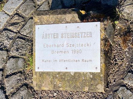 Die Skulptur des Künstler Eberhard Szejstecki wurde 1990 in Bremen-Arsten aufgestellt (Foto: 04-2020, Jens Schmidt)