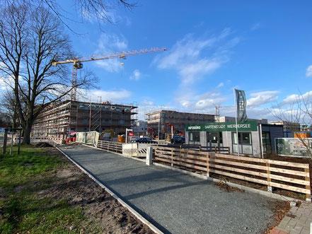 Baufortschritt der Gartenstadt Werdersee in Bremen-Habenhausen (Foto: 02/2020)