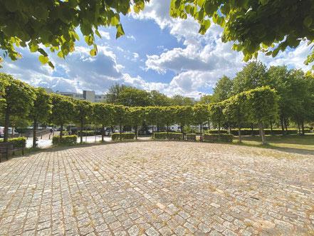 Der gepflasterte Platz des Lindenrondells auf dem Cato-Bontjes-van-Beek-Platz in Bremen-Kattenturm (Foto: 05-2020, Jens Schmidt)