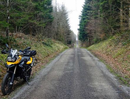 Motorradreisen; Wir fahren auf einer sehr schmalen Strasse durch ein grosses Waldgebiet zur Ortschaft Baume-les Messieurs.
