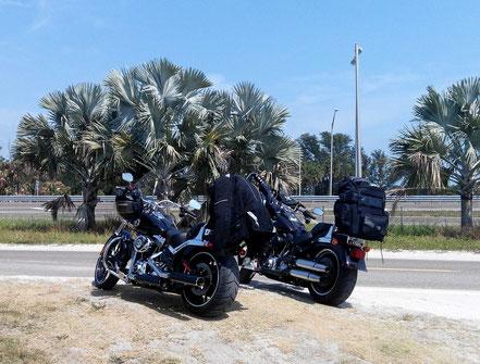 Motorradreisen Motorräder, Sand, Bäume, Strasse und Himmel