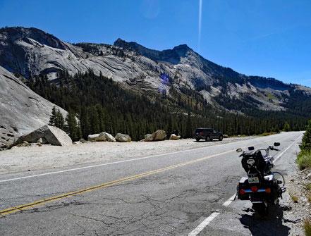 Motoglobe Motorradreisen. Die Harely steht am Strassenrand der Tioga Rd nr. 120 im Yosemite Nationalpark, Kalifornien, USA und vor uns liegen Bäume und Berge mit blauem Himmel.