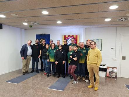 Pere Clota y Oliver J.P . Con los equipos.Terrassa y Esplugues.