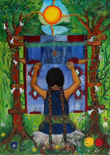 Llalin Kushe, Paz Treuquil. abuela araña, hilandera, cosmovision mapuce, tejedora mapuche, mapuche cosmovision, native art