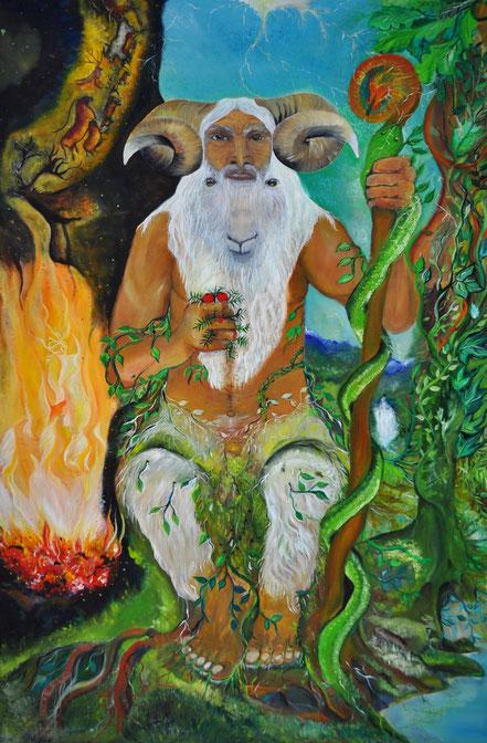 Ahari, carnero, dios astado, Busgosu, Dios Pan, principio masculino, señor de los animales, Mitología vasca, horned god, Akerbeltz,