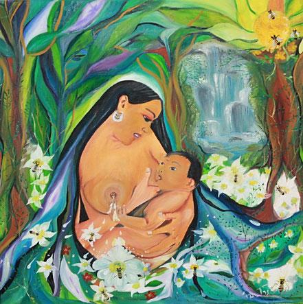 Flor de leche, lactancia, maternidad, cuadros en venta on line, Paz Treuquil, arte indigena, pintura al oleo,continuum, amor de madre, abejas, nectar, casilda Rodrigañez,
