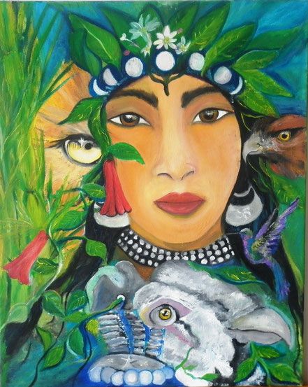 Ñe mogen , Trapelakucha , luna, foye ,  pintura mapuche, machi, condor,  itrofil mogen, Aylen, Paz Treuquil, cuadros en venta on line, pinturas al oleo,