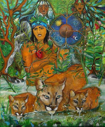 pangui , puma  , wentru mapuche , lonko , newen, cosmovisión mapuche, arte indígena, Paz Treuquil, Kultrun, chamán, shaman