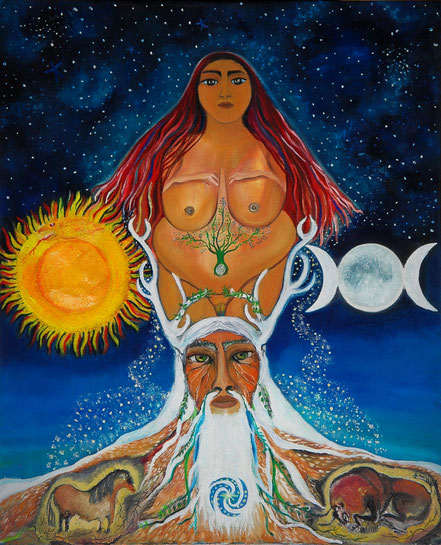 Dios astado, Paz Treuquil, venus paleolitica, Diosa madre, Mitología salvaje, Paz Treuquil, chamanismo, Cernunnos, sugaar, Señor de los animales, pinturas paleoliticas,  principio masculino, principio femenino,