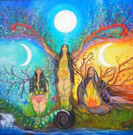 Paz Treuquil, Triple Goddess, Triple Diosa, Amairu, Mairu, ciclo menstrual,