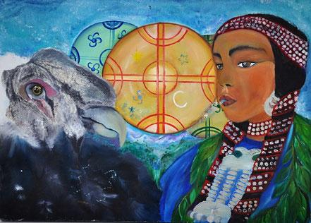 neyen manke, cosmovisión mapuche, kultrun, condor, chamanismo femenino, chamana, canto armonico, pintura al oleo, Paz Treuquil,