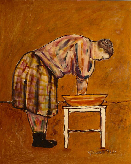 Vlado Franjevic: Terezija, Acryl auf Malpappe, 70x80