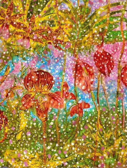 Sylvie Lander, peinture, un jardin au féminin, fleurs
