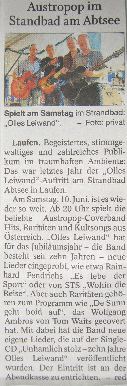 Olles Leiwand im Freilassinger Anzeiger: Ankündigung für das Open Air am Abtsee