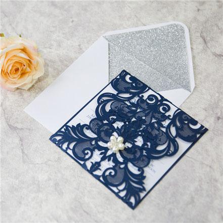 Lasercut Karten #A0002* Standardfarbe Glittering Navy mit Embellishment #UKB0002 Hochzeitskarten