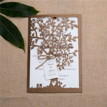 Lasercut Karte, Wedding Tree, Hochzeitkarten, Einladungskarten