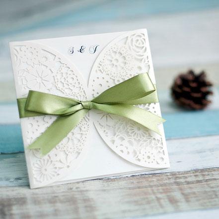 Lasercut Karte  Einladungskarte, Hochzeitskarten