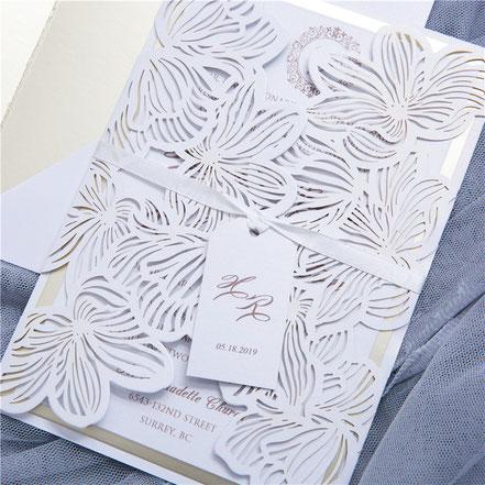 Lasercut Karte #A0020 Standardfarbe White Shimmer Hochzeitskarten Einladungskarten Ukarten