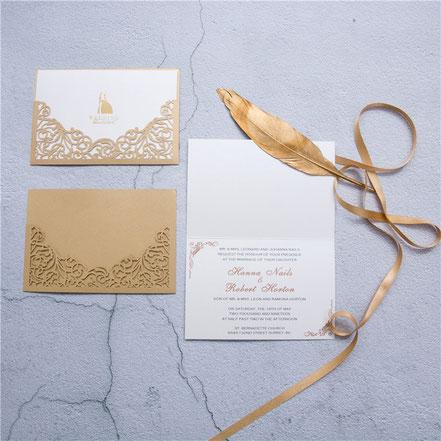 Lasercut Karte #A0007, Einsteckkarte, Hochzeitskarte mit hotfoil Prägung, gold