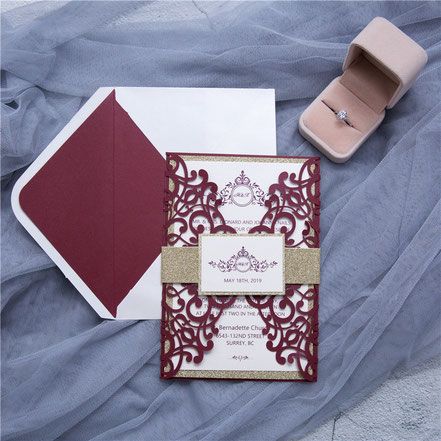 Lasercut Karte, Hochzeitskarten, Einladungskarten