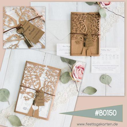 """Lasercut Karte """"Hochzeitsbaum"""" #B150 aus Kraftpapier mit Schlüssel """"DREAM"""""""