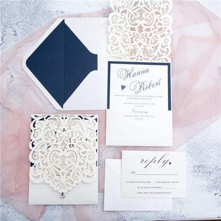 Lasercutkarte, Hochzeitskarten, Einladungskarten