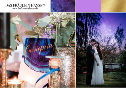MOODBOARD  Hochzeit Inspiration  Love you to the moon and back - Hochzeit unter dem Sternenhimmel  in der PANTONE Farbe des Jahres 2018  Ultraviolet // Gold // starry night wedding // geode wedding // achat // glaxy wedding //