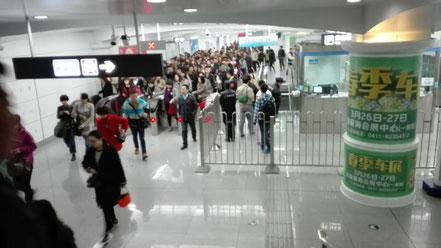 中国留学 大連地下鉄 改札口