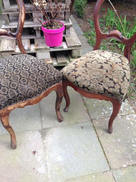 Alte Stühle vor der Bearbeitung