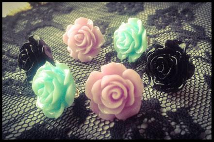 Pastel Goth Rose Stud Earrings