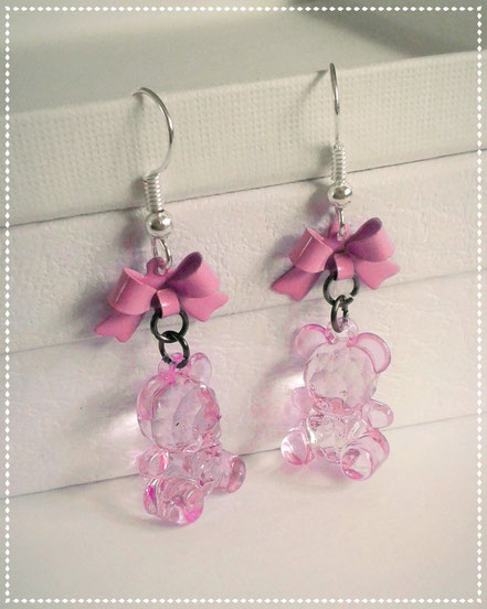 Pink Teddy Earrings with Pink Bows