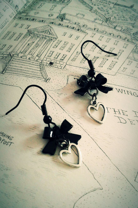 Heart Earrings with Black Bows