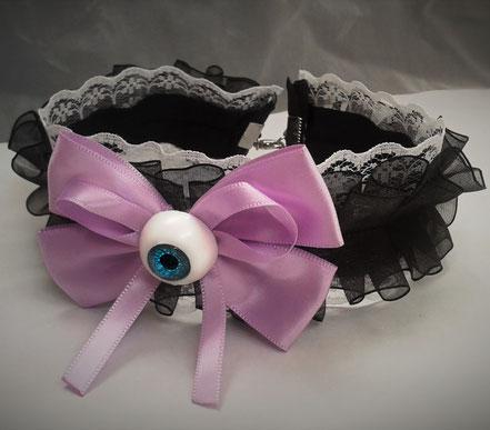 Pastel Goth Black & Purple Eye Bow Choker