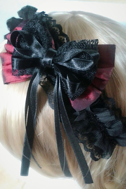 Gothic Lolita Red & lack Layered Bow Lace Headband