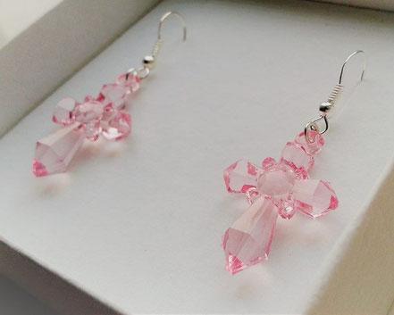 Baby Pink Cross Earrings