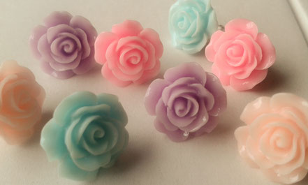 Pastel Coloured Rose Stud Earrings